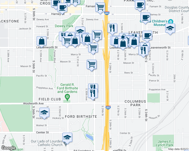 map of restaurants, bars, coffee shops, grocery stores, and more near Pacific St & Park Ave in Omaha