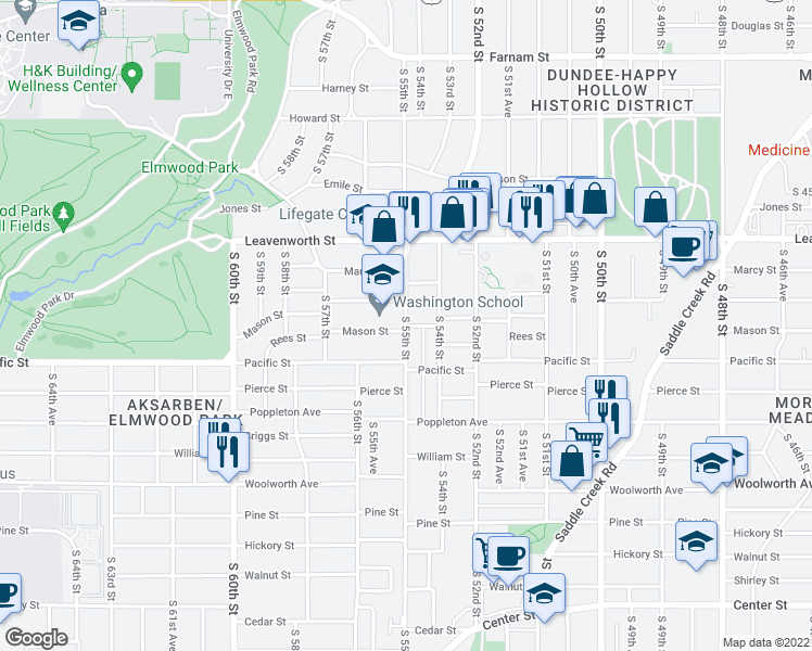 map of restaurants, bars, coffee shops, grocery stores, and more near Mason Street in Omaha