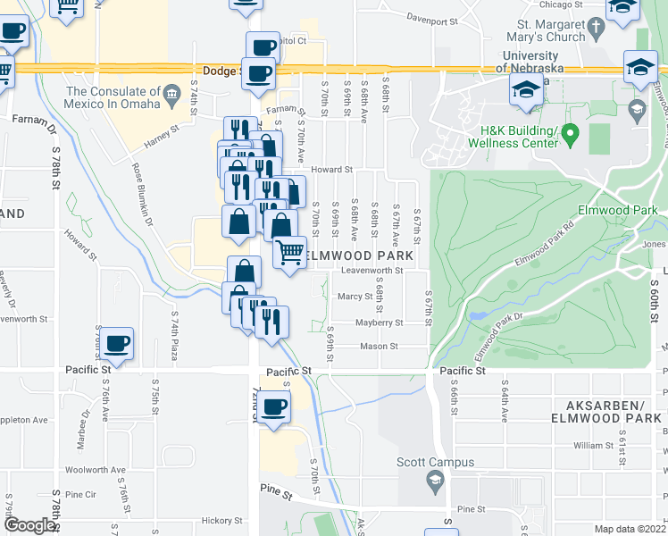 map of restaurants, bars, coffee shops, grocery stores, and more near 740 South 68th Avenue in Omaha