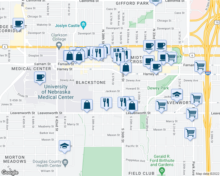 map of restaurants, bars, coffee shops, grocery stores, and more near 3702 Jackson Street in Omaha
