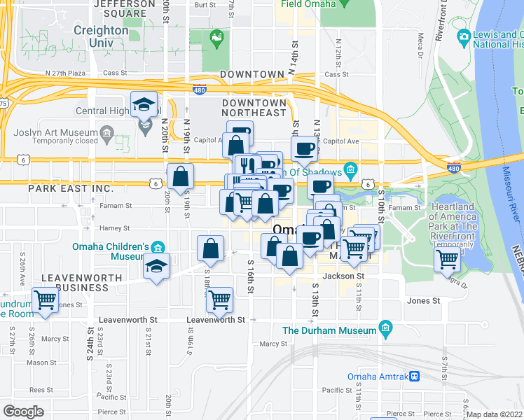 map of restaurants, bars, coffee shops, grocery stores, and more near 1511 Farnam Street in Omaha