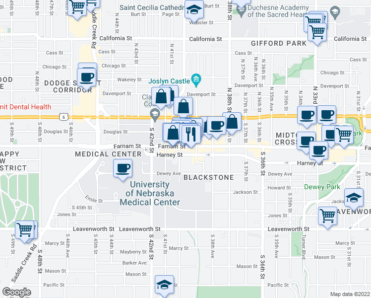 map of restaurants, bars, coffee shops, grocery stores, and more near 3913 Farnam Street in Omaha