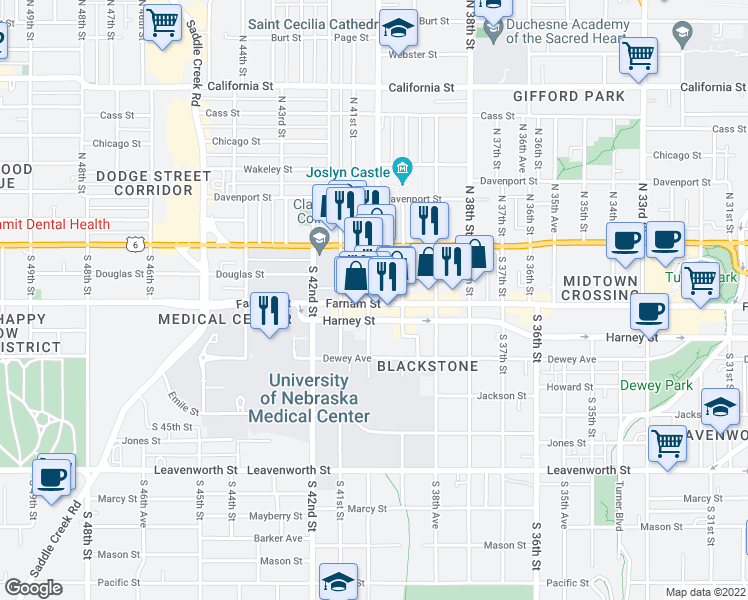 map of restaurants, bars, coffee shops, grocery stores, and more near 3930 Farnam Street in Omaha