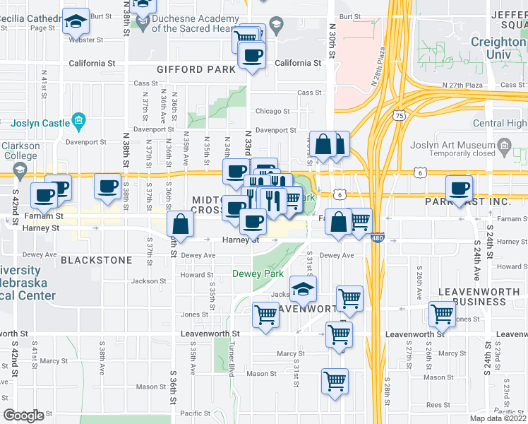 map of restaurants, bars, coffee shops, grocery stores, and more near 3220 Farnam Street in Omaha