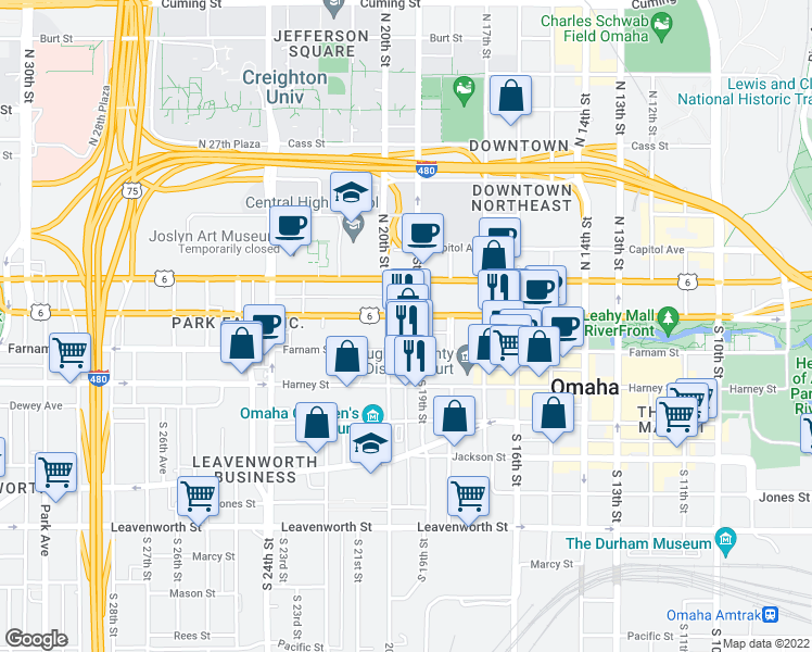 map of restaurants, bars, coffee shops, grocery stores, and more near 2701 North 159th Street in Omaha