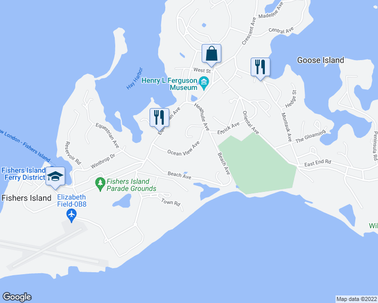 map of restaurants, bars, coffee shops, grocery stores, and more near Ocean View Avenue in Fishers Island