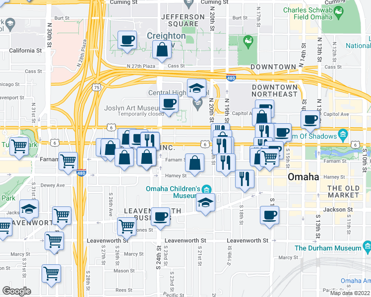 map of restaurants, bars, coffee shops, grocery stores, and more near 2121 Douglas Street in Omaha