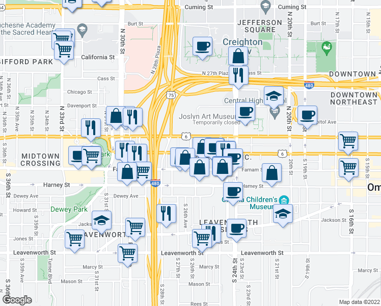 map of restaurants, bars, coffee shops, grocery stores, and more near 2651 Douglas St in Omaha