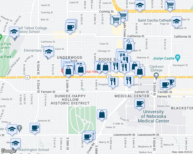 map of restaurants, bars, coffee shops, grocery stores, and more near Dodge Street in Omaha