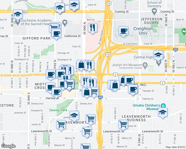 map of restaurants, bars, coffee shops, grocery stores, and more near Dodge St & S 29th St in Omaha