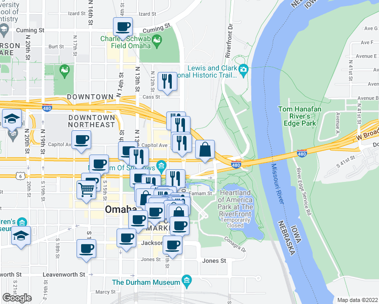 map of restaurants, bars, coffee shops, grocery stores, and more near 909 Capitol Avenue in Omaha
