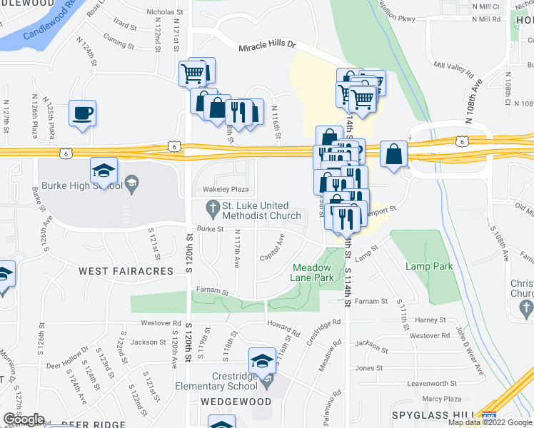 map of restaurants, bars, coffee shops, grocery stores, and more near 288 North 116th Court in Omaha
