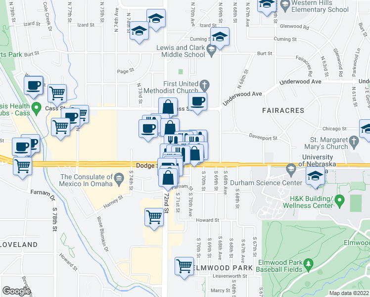 map of restaurants, bars, coffee shops, grocery stores, and more near Capitol Court in Omaha