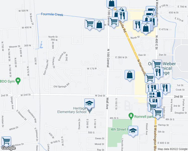 map of restaurants, bars, coffee shops, grocery stores, and more near 128 200 West in Ogden