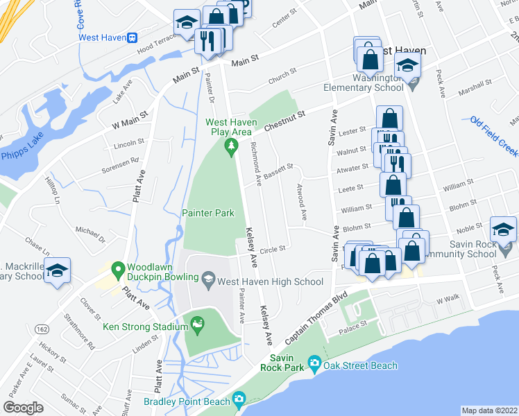 map of restaurants, bars, coffee shops, grocery stores, and more near in West Haven