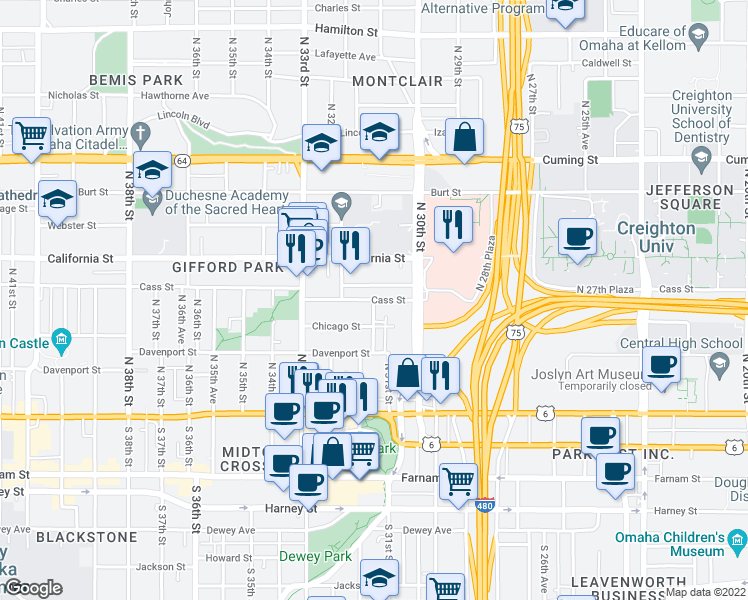 map of restaurants, bars, coffee shops, grocery stores, and more near 3032 Cass Street in Omaha