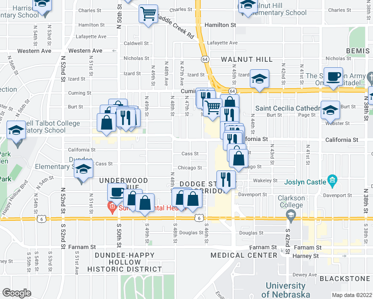 map of restaurants, bars, coffee shops, grocery stores, and more near 4704 Cass St in Omaha