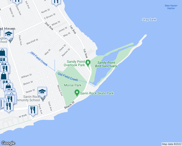 map of restaurants, bars, coffee shops, grocery stores, and more near 1st Ave & Beach St in West Haven