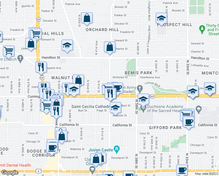 map of restaurants, bars, coffee shops, grocery stores, and more near 928 N 40th St in Omaha