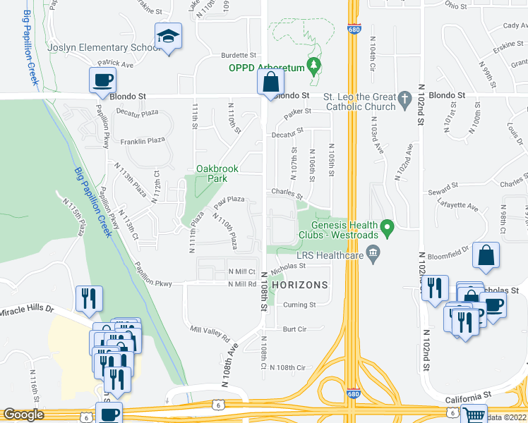 map of restaurants, bars, coffee shops, grocery stores, and more near 1400-1448 North 107th Plaza in Omaha