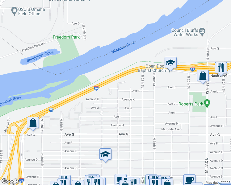 map of restaurants, bars, coffee shops, grocery stores, and more near 1222 North 31st Street in Council Bluffs