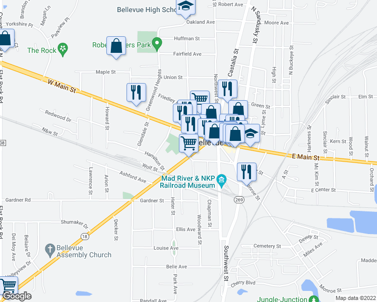 map of restaurants, bars, coffee shops, grocery stores, and more near 142 Kilbourne Street in Bellevue