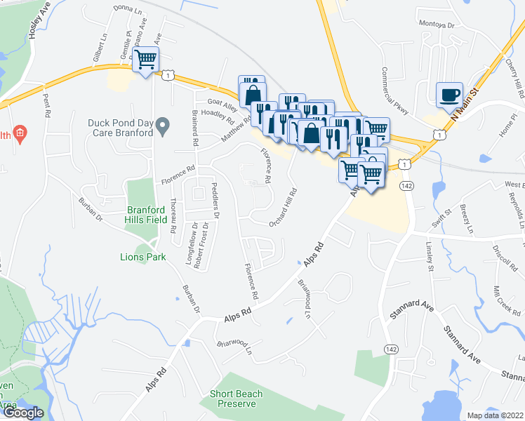 map of restaurants, bars, coffee shops, grocery stores, and more near 50-54 Orchard Hill Road in Branford