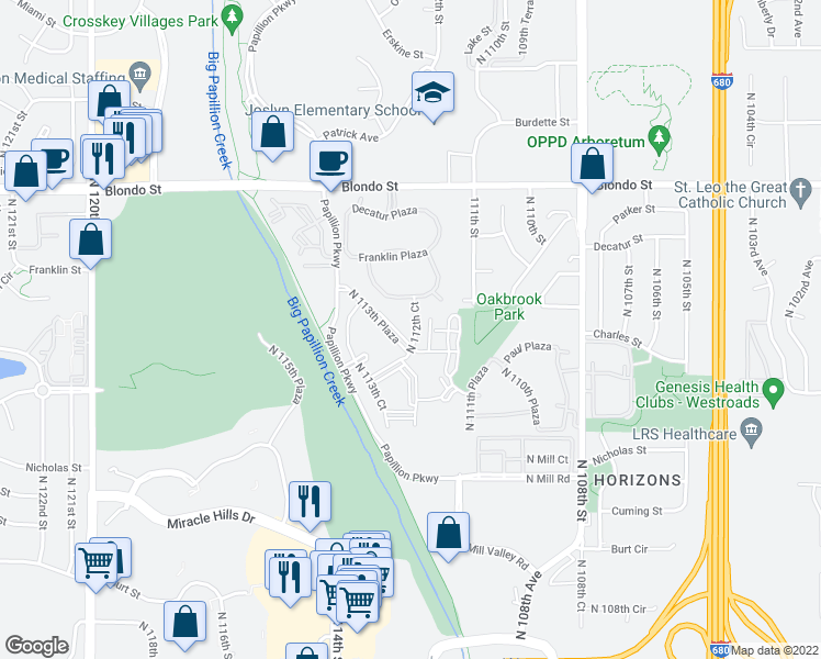 map of restaurants, bars, coffee shops, grocery stores, and more near 11525 Decatur Plaza in Omaha