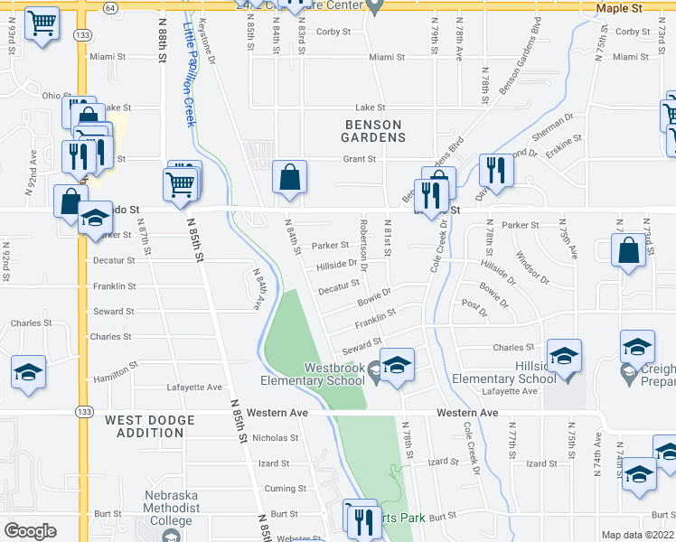 map of restaurants, bars, coffee shops, grocery stores, and more near 8221 Hillside Drive in Omaha