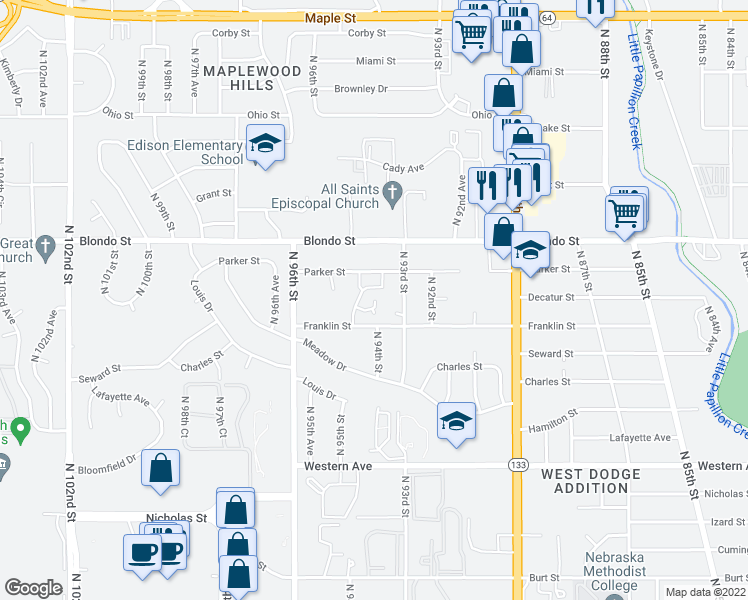 map of restaurants, bars, coffee shops, grocery stores, and more near N 93rd Ct in Omaha