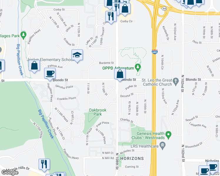 map of restaurants, bars, coffee shops, grocery stores, and more near 10808 Oakbrook Cir in Omaha