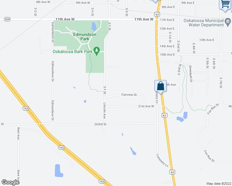 map of restaurants, bars, coffee shops, grocery stores, and more near 601 Fairview Drive in Oskaloosa