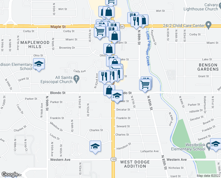 map of restaurants, bars, coffee shops, grocery stores, and more near North 90th Plaza in Omaha