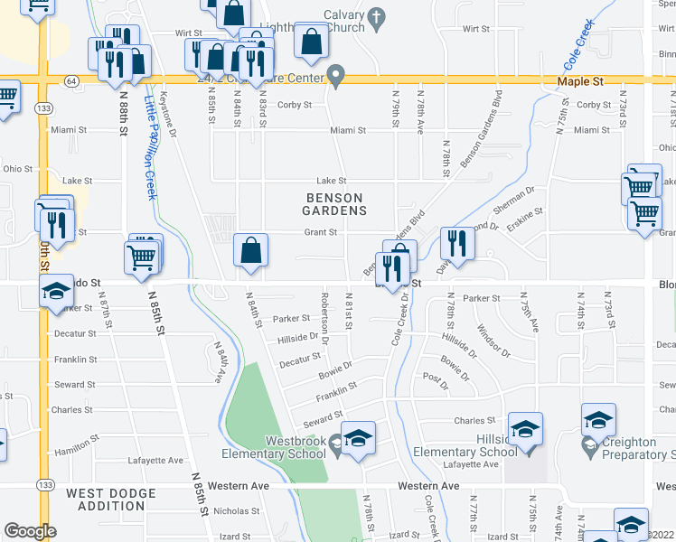 map of restaurants, bars, coffee shops, grocery stores, and more near 2004 North 81st Court in Omaha