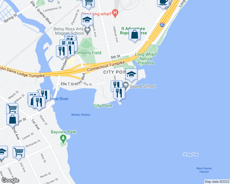 map of restaurants, bars, coffee shops, grocery stores, and more near 20 Howard Avenue in New Haven