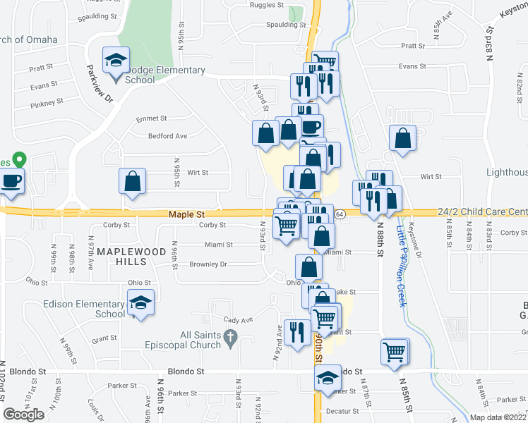map of restaurants, bars, coffee shops, grocery stores, and more near N 93rd St in Omaha