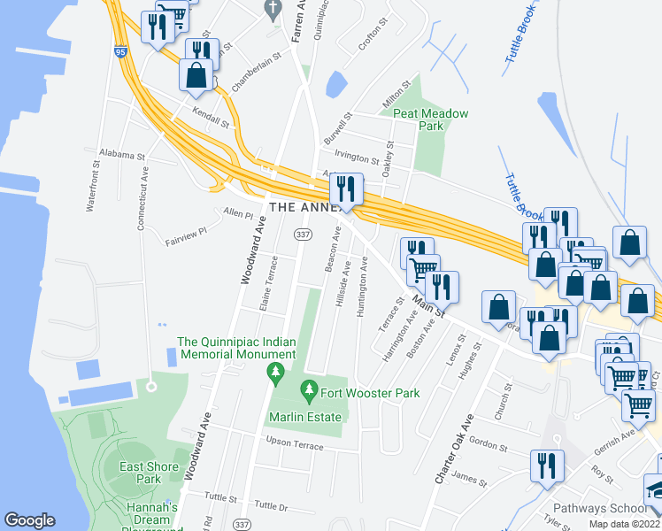 map of restaurants, bars, coffee shops, grocery stores, and more near 147 Beacon Ave in New Haven