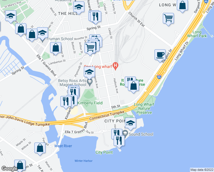 map of restaurants, bars, coffee shops, grocery stores, and more near Howard Avenue & 3rd Street in New Haven
