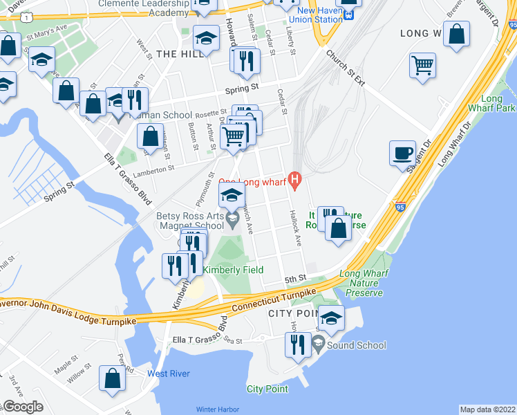 map of restaurants, bars, coffee shops, grocery stores, and more near 68 2nd Street in New Haven