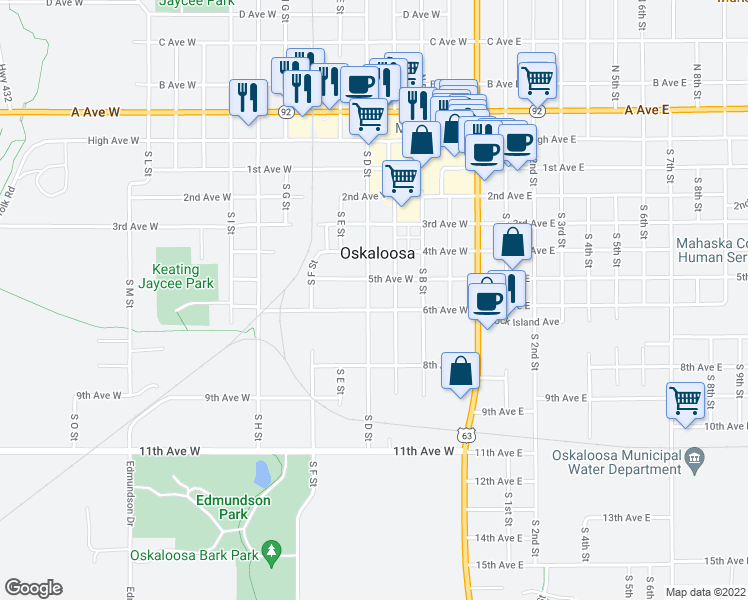 map of restaurants, bars, coffee shops, grocery stores, and more near 614 South D Street in Oskaloosa