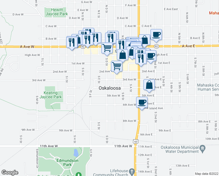 map of restaurants, bars, coffee shops, grocery stores, and more near in Oskaloosa