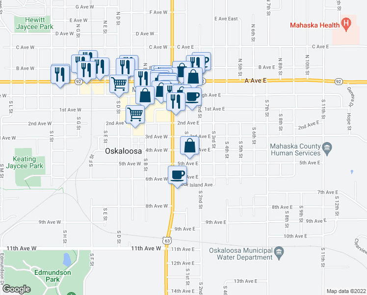 map of restaurants, bars, coffee shops, grocery stores, and more near 415 South 1st Street in Oskaloosa