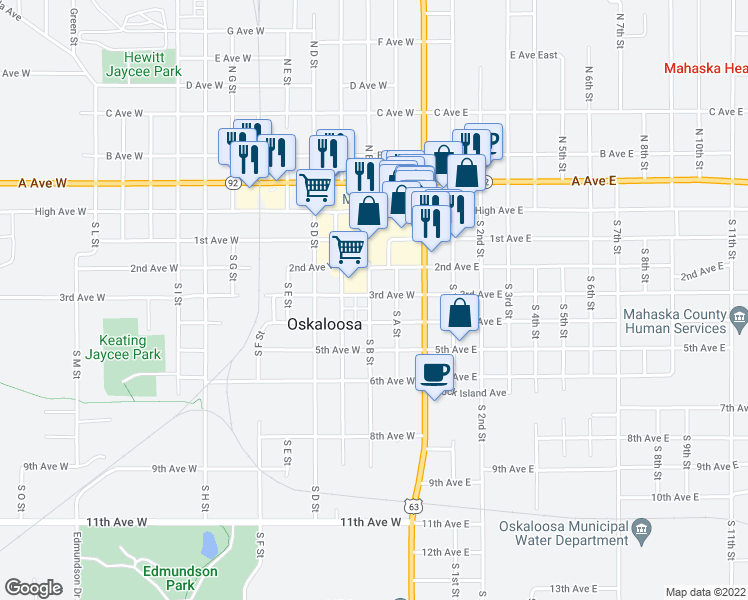 map of restaurants, bars, coffee shops, grocery stores, and more near 216 3rd Avenue West in Oskaloosa