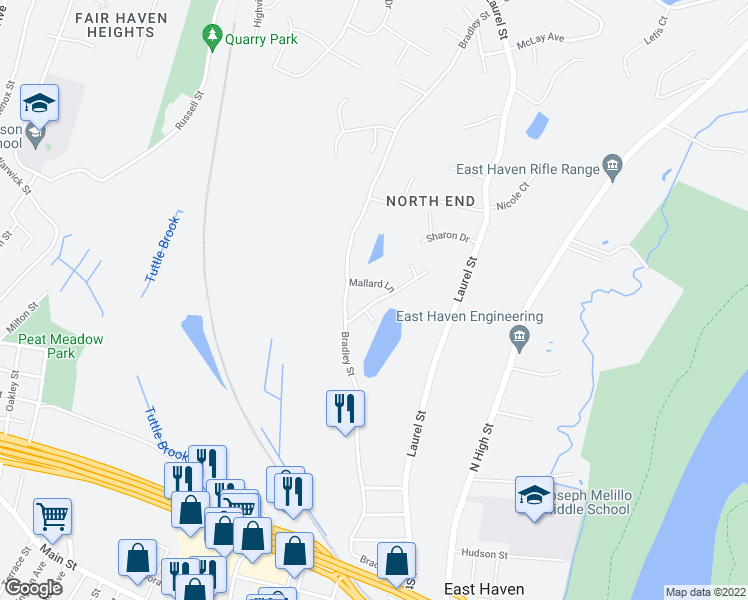map of restaurants, bars, coffee shops, grocery stores, and more near 63 Pondview Terrace in East Haven