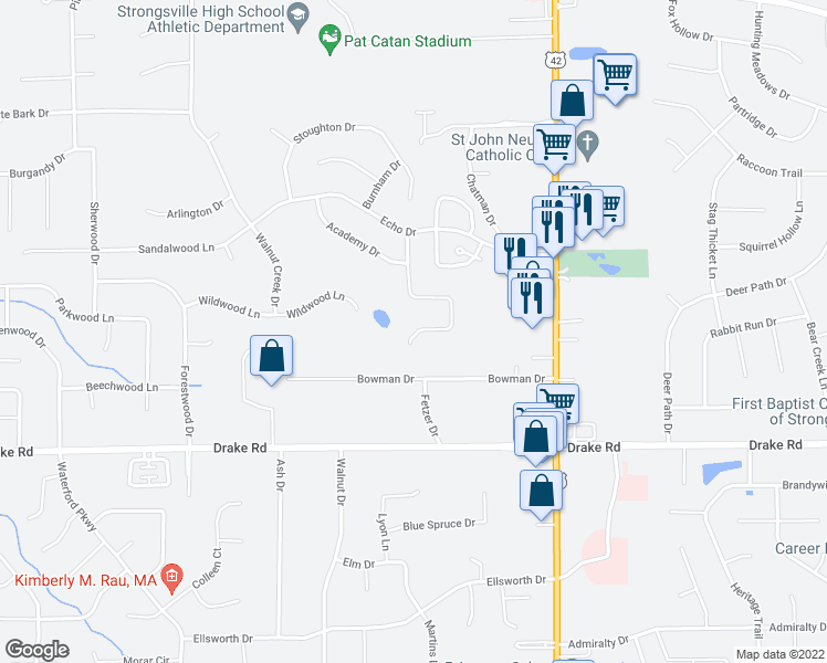 map of restaurants, bars, coffee shops, grocery stores, and more near 16824 Woodshire Drive in Strongsville