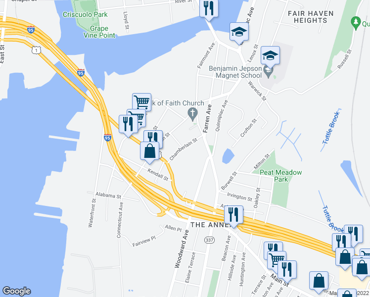 map of restaurants, bars, coffee shops, grocery stores, and more near 53 Chamberlain Street in New Haven