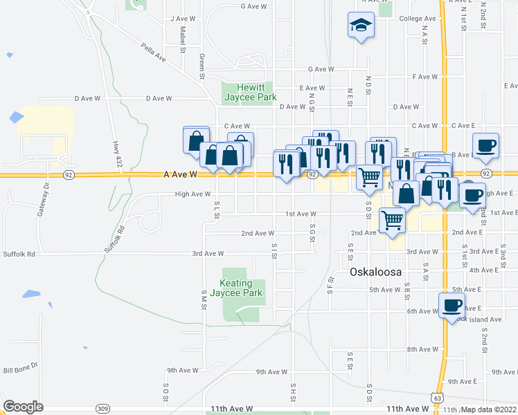 map of restaurants, bars, coffee shops, grocery stores, and more near 112 South J Street in Oskaloosa