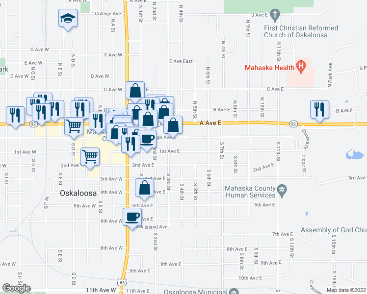 map of restaurants, bars, coffee shops, grocery stores, and more near 503 1st Avenue East in Oskaloosa