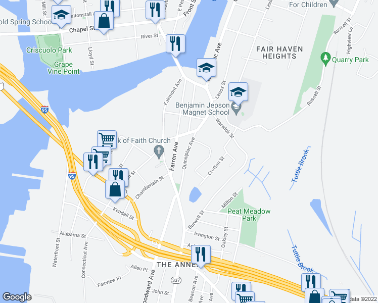 map of restaurants, bars, coffee shops, grocery stores, and more near 185 Quinnipiac Avenue in New Haven