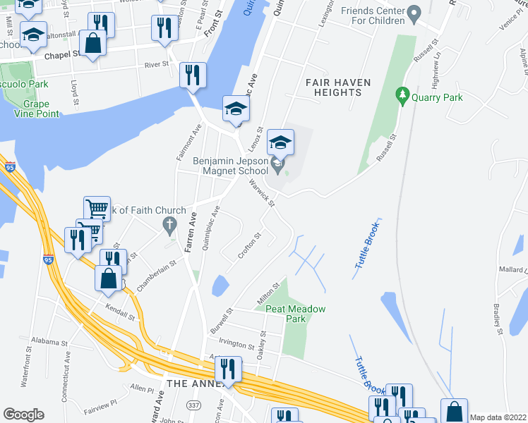 map of restaurants, bars, coffee shops, grocery stores, and more near 20 Russell Street in New Haven